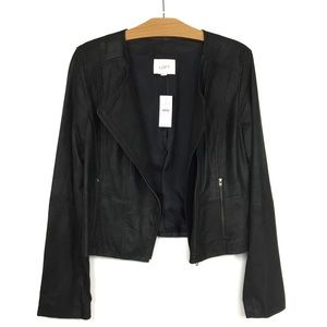 NWT Loft 100% Leather Moto Jacket Black Soft 8